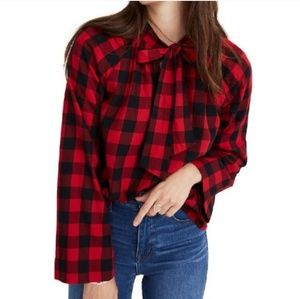 Madewell Checkered Red and Black Top